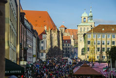 Crowd in the central square, nuremberg Royalty Free Stock Photos