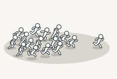 Crowd chasing leader. Background. Clean vector illustration Stock Photos