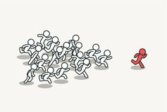 Crowd chasing leader. Background. Clean vector illustration Stock Image