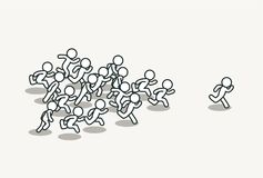 Crowd chasing leader. Background. Clean vector illustration Royalty Free Stock Image