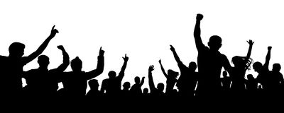 Crowd of cheerful people, applause silhouette vector. Big crowd with lots of people cheering and excited. Audience, event, mob royalty free illustration