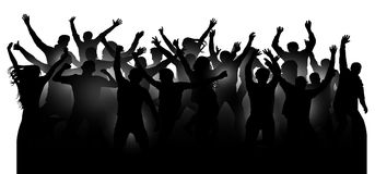 Crowd of cheerful people, dancing at the music concert, party, festival, club. Audience cheer hands up. Mob fans applauding. Isolated silhouette vector. Sports Stock Photography
