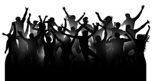 Crowd of cheerful people, dancing at the music concert, party, festival, club. Audience cheer hands up. Mob fans applauding, isolated silhouette vector Royalty Free Stock Photos