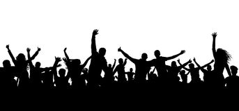 Crowd cheerful people silhouette. Happy group of young people dancing at musical party, concert, disco. Joyful mob. Sports fans, applause, cheering. Vector on royalty free illustration