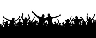 Crowd cheerful people silhouette. Joyful mob. Happy group friends of young people dancing at musical party, concert, disco. Sports fans, applause, cheering Stock Photography