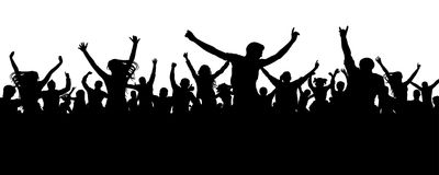 Crowd cheerful people silhouette. Joyful mob. Happy group of young people dancing at musical party, concert, disco. Sports fans, applause, cheering. Vector on Royalty Free Stock Images