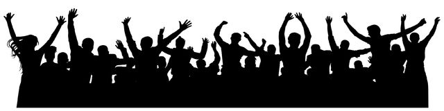 Crowd cheerful people silhouette. Joyful mob. Happy group of young people dancing at musical party, concert, disco.