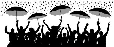 Crowd of cheerful people with umbrellas in the rain. Isolated Vector Silhouette.  royalty free illustration