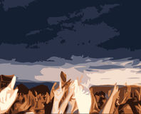 Crowd Cheering. A fully scalable  illustration of a Crowd Cheering . Jpeg, Illustrator AI and EPS 8.0 files included Royalty Free Stock Images