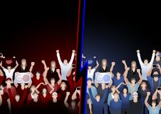 Crowd of cheering fans in red and blue colors Royalty Free Stock Images