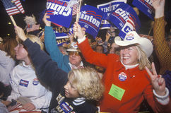 Crowd cheers at a Clinton/Gore Denver campaign Stock Photos
