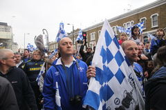 Crowd of Chelsea fans Royalty Free Stock Image