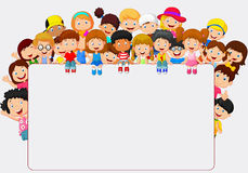 Crowd children cartoon with blank sign. Illustration of Crowd children cartoon with blank sign Royalty Free Stock Images