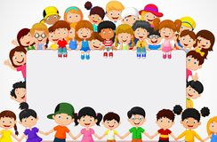 Crowd children cartoon with blank sign. Illustration of Crowd children cartoon with blank sign Stock Photography