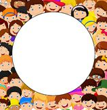 Crowd of children cartoon with blank space Stock Image