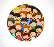 Crowd of children cartoon with blank space Stock Images