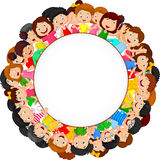 Crowd of children cartoon with blank space Stock Photos