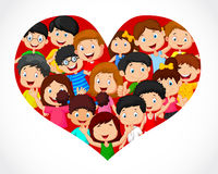 Crowd of children cartoon in heart formation Royalty Free Stock Photography