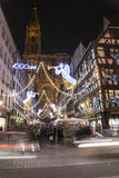 Crowd at the Christmas market in Strasbourg, France Royalty Free Stock Photos