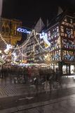 Crowd at the Christmas market in Strasbourg, France Royalty Free Stock Photo