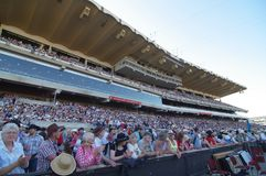 The crowd at the chuckwagon races. A full house awaits the start of the chuckwagon races races on July 9, 2013 in Calgary, Alberta. Attendance was high at this Stock Photography