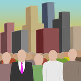 Crowd and city. Big crowd and city. (skyscrapers, businessmen Royalty Free Stock Photo