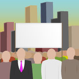 Crowd, city and placard. Royalty Free Stock Photography