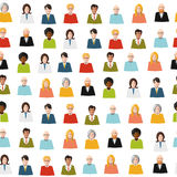 Crowd of color flat people seamless pattern Royalty Free Stock Images