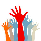 Crowd of colored hands Royalty Free Stock Images