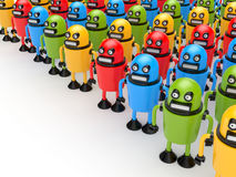 Crowd of colorful robots Stock Images