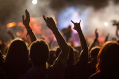 Crowd at concert. And stage lights royalty free stock images