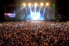Crowd in a concert at Dcode Festival Stock Images