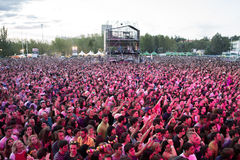Crowd in a concert at Dcode Festival Royalty Free Stock Photo