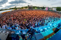 Crowd in a concert at Dcode Festival Stock Photography