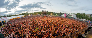 Crowd in a concert at Dcode Festival Royalty Free Stock Photography