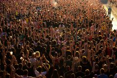 The Crowd in a concert at Download heavy metal music festival. MADRID - JUN 24: The Crowd in a concert at Download heavy metal music festival on June 24, 2017 in royalty free stock photo