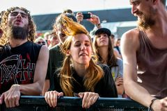 Crowd in a concert at Download heavy metal music festival. MADRID - JUN 23: Crowd in a concert at Download heavy metal music festival on June 23, 2017 in Madrid stock photography