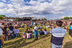 Crowd at a concert in the Festa do Avante Festival Royalty Free Stock Image