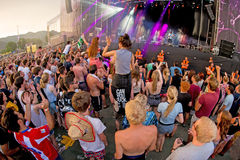 Crowd in a concert at FIB Festival. BENICASSIM, SPAIN - JUL 18: Crowd in a concert at FIB Festival on July 18, 2015 in Benicassim, Spain Royalty Free Stock Images