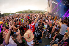 Crowd in a concert at FIB Festival. BENICASSIM, SPAIN - JUL 18: Crowd in a concert at FIB Festival on July 18, 2015 in Benicassim, Spain Stock Photography
