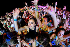 Crowd in a concert at FIB Festival Royalty Free Stock Image