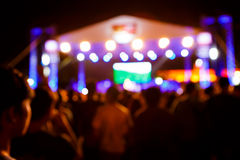 Crowd at concert in front of stage Royalty Free Stock Photos