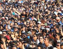 Croud attending to a concert in Monterrey. Crowd in a concert in Monterrey city, Mexico. The concert is called Pal Norte Stock Photography