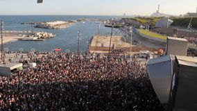 Crowd at a concert in a music festival in Barcelona, spring 2013. stock footage