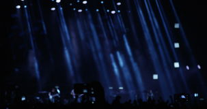 Crowd on a Concert at Night. In Slow Motion stock footage