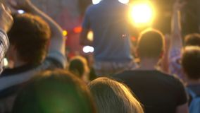 Crowd concert phone hand. Footage of a crowd partying at a rock concert hand phone stock footage