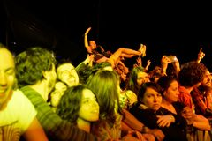 Crowd in a concert at Primavera Sound 2016 Festival Royalty Free Stock Photography