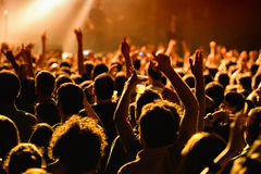Crowd in a concert at Razzmatazz stage Royalty Free Stock Photo