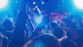 Crowd_concert_singer ( stage blured ) stock video footage