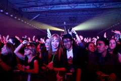 Crowd in a concert at St. Jordi Club stage. BARCELONA - MAR 30: Crowd in a concert at St. Jordi Club stage on March 30, 2015 in Barcelona, Spain Stock Image
